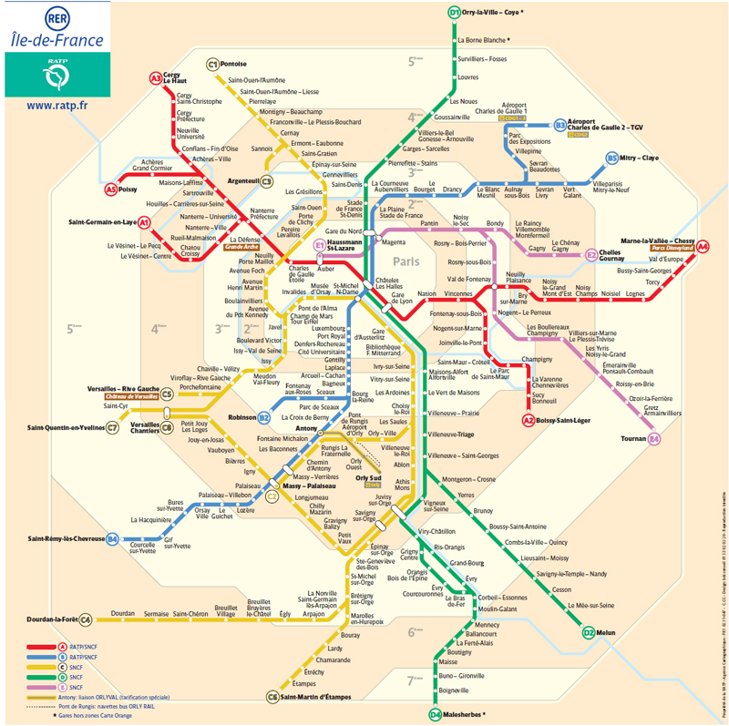 Вот карта RER Парижа: